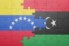 intryguje z flaga państowowa Venezuela i Libya Obraz Stock