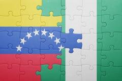 intryguje z flaga państowowa Venezuela i Nigeria Zdjęcia Royalty Free
