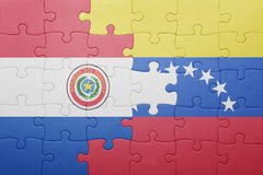 Intryguje z flaga państowowa Venezuela i Paraguay Obrazy Royalty Free