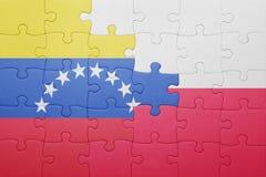 Intryguje z flaga państowowa Venezuela i Poland Zdjęcie Royalty Free