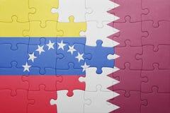 intryguje z flaga państowowa Venezuela i Qatar Fotografia Stock
