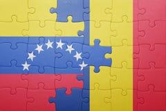 intryguje z flaga państowowa Venezuela i Romania Obraz Stock