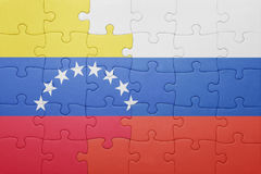 Intryguje z flaga państowowa Venezuela i Russia Zdjęcie Stock