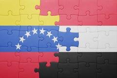 Intryguje z flaga państowowa Venezuela i Yemen Zdjęcie Royalty Free
