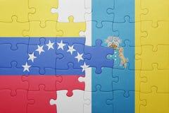 intryguje z flaga państowowa wyspy kanaryjska i Venezuela Zdjęcie Royalty Free