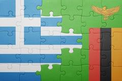 intryguje z flaga państowowa zambiowie i Greece Obraz Royalty Free