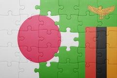 intryguje z flaga państowowa zambiowie i Japan Fotografia Stock