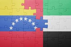 Intryguje z flaga państowowa zlani arabscy emiraty i Venezuela Obrazy Royalty Free