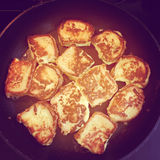 Intstagram of french toast cooking on pan Stock Image
