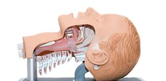Intubation of an unconscious patient. Foreign body airway. choking  in ambulans Royalty Free Stock Photo