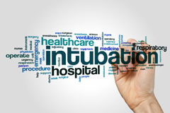 Intubation word cloud. Concept on grey background royalty free stock image