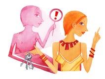 Intuición, muchacha con un manojo de llaves y una sombra en un fondo blanco stock de ilustración