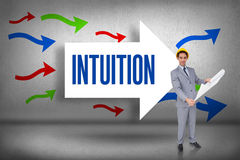 Intuition against arrows pointing Stock Image