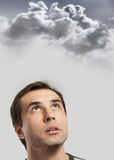 Intuition concept. Male portrait against a stormy sky background Royalty Free Stock Photo
