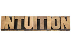 Intuition word in wood type Royalty Free Stock Image