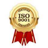 Intygad ISO 9001 - skyddsremsa för kvalitets- normal Arkivfoton