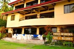 Intymnej siedziby VIP kurortu fasada w Negros orientale, Filipiny obrazy stock