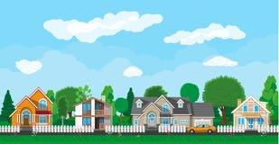 Intymni podmiejscy domy z samochodem royalty ilustracja