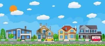 Intymni podmiejscy domy z samochodem, ilustracja wektor