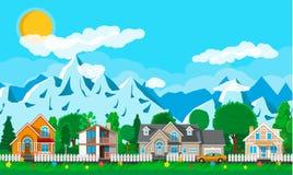 Intymni podmiejscy domy z samochodem ilustracji
