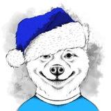 Inu Акиты в шляпе Санта Клауса бежит предпосылка ` s Нового Года также вектор иллюстрации притяжки corel Стоковое Изображение