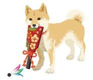 Inu di Shiba che gioca con la paletta per ribassare i fondi giapponese royalty illustrazione gratis