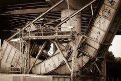 Inudstrial rail road bridge Royalty Free Stock Images