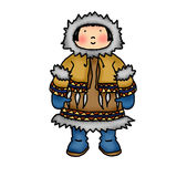 Inuit child. Illustration of a little Inuit girl in traditional costume Royalty Free Stock Photos