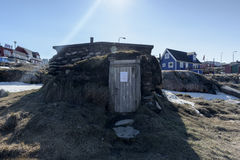 Inuit house in Ilulissat city of the Greenland. May 2016 Royalty Free Stock Photography