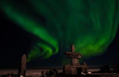 Inuit hudson bay northern lights Stock Image