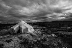 Inuit tent in the tundra. This is a inuit tent in the tundra of nunavik  around kuujjuaq Stock Photos