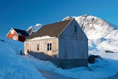 Inuit village. With moutains in background royalty free stock images