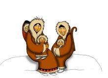 Inuitfamilie stock foto's