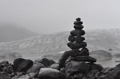 Inukshuk. In Iceland to pray for travel safety Stock Image
