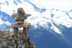 Inukshuk. On top of Whistler mountain.  Symbol of the 2010 Winter Olympics to be held in Vancouver Royalty Free Stock Photography