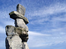 Inukshuk. The Official Symbol Of The 2010 Winter Olympics (English Bay, Vancouver, Canada stock images