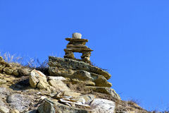 Inukshuk in the badlands Royalty Free Stock Photos