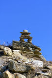 Inukshuk in the badlands Royalty Free Stock Photo
