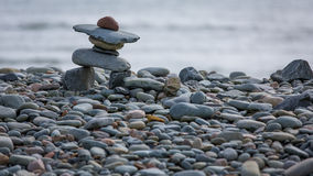 Inukshuk on the coast in Eastern Passage, Canada Royalty Free Stock Photography