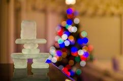 Inukshuk con le luci di Natale Fotografia Stock