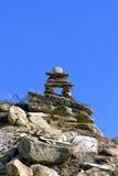 Inukshuk en los badlands Foto de archivo libre de regalías