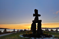 Inukshuk at English Bay. 2010 Olympic symbol - Inukshuk at English Bay, Vancouver royalty free stock photo