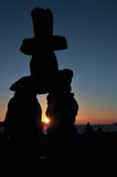 The Inukshuk at English Bay. The Inukshuk, symbol of the First Nations at English Bay, Vancouver Stock Photo