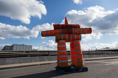 Inukshuk made of traffic cones stock image