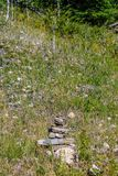 Inukshuk in a meadow of flowers. Banff National Park on Johnson Lake trail Royalty Free Stock Photography