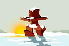 Inukshuk no por do sol ilustração stock