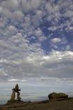 Inukshuk on the Notrthumberland Strait, Nova Scoti royalty free stock photo