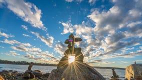 Inukshuk op het strand Royalty-vrije Stock Foto's