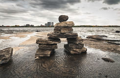 Inukshuk on the Ottawa River  2. Stone sculptures known as Inukshuks line in the Ottawa River, Canada Stock Photography