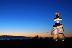 Inukshuk sculptrue vancouver Stock Photo
